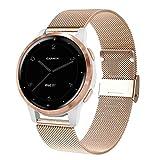 WATORY Compatibile con Garmin Vivoactive 4s 40 mm/venu 2s, cinturino in acciaio inossidabile da 18 mm, cinturino di ricambio per Garmin Vivomove 3S da 39 mm, da donna, oro rosa