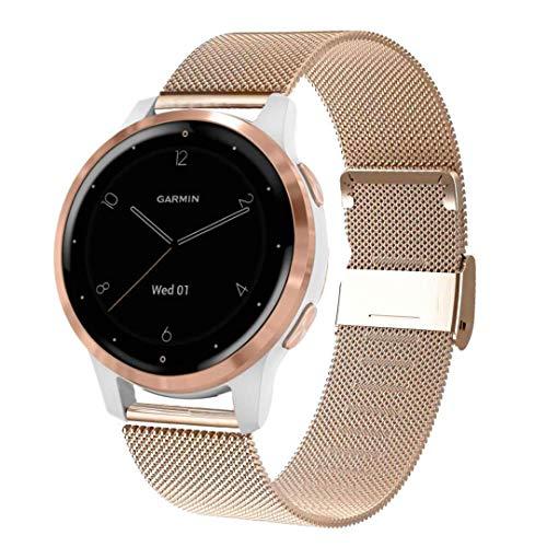 WATORY kompatibel mit Garmin vivoactive 4s 40mm / venu 2s Armband, 18mm Mesh Gewebte Edelstahl Armband Metall Uhrenarmband Ersatzband für Garmin vivomove 3S 39mm Frauen. Roségold