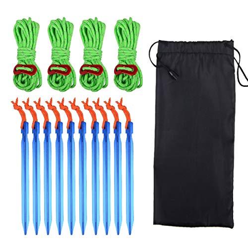 TRIWONDER Aluminium Zeltstangen + Reflektierende Paracordseil mit Seilspanner für Camping, Wandern, Backpacking (Grün)