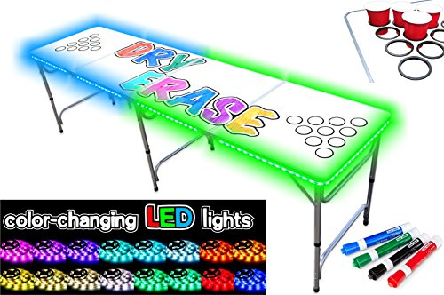 Find Cheap PartyPongTables.com 8-Foot Beer Pong Table - Dry Erase Edition with Cup Holes & LED Light...