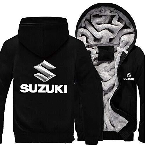 Herren Sweatshirts Suzuki Hoodies Pullover Langarm Fleece Jacken Full Zip Hooed Mäntel - Herbst Winter Warm Thick Sweater Outwear Tops,Schwarz,XXL