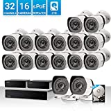 Zmodo 32 Channel 1080P HDMI NVR Security System 16 x720P IP Outdoor/Indoor...
