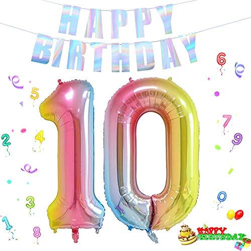 Folienballon Zahl in Farbe,Luftballon Zahlen,Riesige Folienballon,Zahl Geburtstagsdeko,Geburtstag Dekoration bunt,Folienballon im Zahlen-Design,Party Supplies Folienballon im Zahlen-Design (10-1)