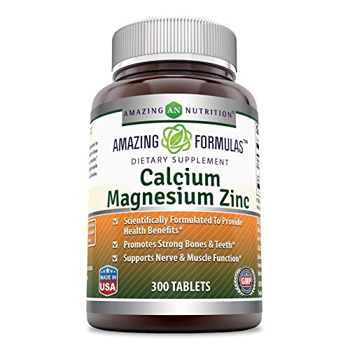 Amazing Nutrition Calcium Magnesium Zinc Dietary Supplement * 300 Tablets per Bottle * (Calcium- 1000 mg, Magnesium 400mg - Zinc 25mg per Serving of 3 Tablets)