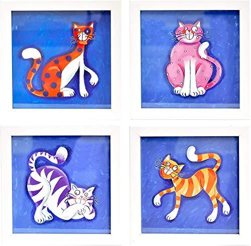 BD ART Ensemble de 4 différentes Images dans un Cadre pour une Chambre d'enfant, CATS