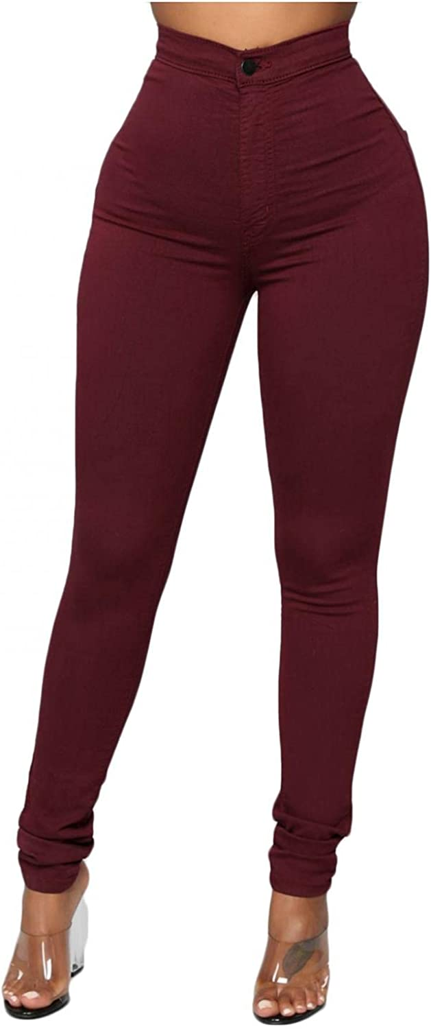 WUAI-Women Jean Look Jeggings Tights High Wasit Pull-On Stretchy Slim Fit Skinny Jeans Pencil Denim Pant Plus Size