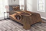ABAKUHAUS Schokolade Tagesdecke Set, Kakao Schokolade auf Löffel, Set mit Kissenbezügen Waschbar, 170 x 220 cm, Dark Brown Sand Braun