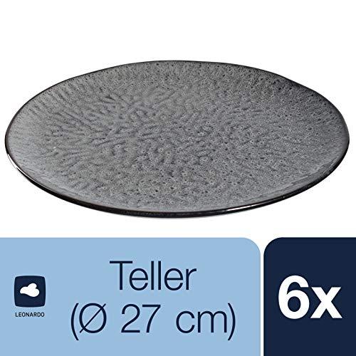 Leonardo Teller Matera 6-er Set, 27 cm, 6 Keramik Teller, spülmaschinengeeignet, mit Glasur anthrazit, 018565
