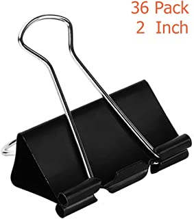 Extra Large Binder Clips (36 Pack) 2 Inch, Big Paper Clamps for Office Supplies, Black