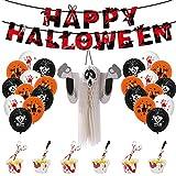 Happy Halloween Party Dekor Blutfarben Banner & Waben-Spenst Paket Ghost Festival Party Ballon Set, Halloween Banner, Kuchen Einsatz Dekoration