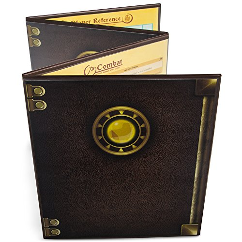 Stratagem The Master's Tome 4-Panel Customizable GM Screen with Free Inserts – Dry Erase, Dungeon & Game Master Accessory for Tabletop RPG Campaigns (Brown)