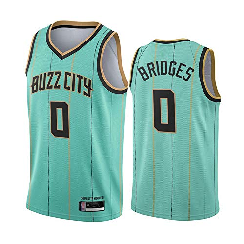 SHR-GCHAO 2021 Sport Jerseys - Edición De Hombres NBA Charlotte Hornets # 0 Millas Puentes - Camiseta Deportiva De Camiseta De Baloncesto Camiseta Sin Mangas,Light Green,L(175~180cm)