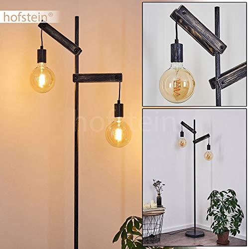 Aarhus Lámpara de pie de madera envejecida y metal negro, lámpara retro de 150 cm de alto ideal en un salón vintage, con interruptor en el cable, para 2 bombillas E27 máx. 60 W, compatible con LED