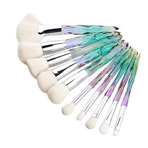 Flywill 10 Pcs Pinceaux de Maquillage Transparent Coupe de Diamant Cristal Poignée Set de Brosse Maquillage Professionnels pour Fond de Teint/Blush/Eyeliner/Fard à Paupières, Poignée verte(Blanc)