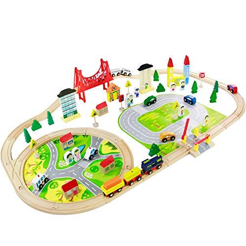 Nuheby Tren Juguete de Madera 82Pcs Juguetes Niños Educativos 3 4 5 Años, Circuito de Tren Ferrocarril de Madera Pista de Coches