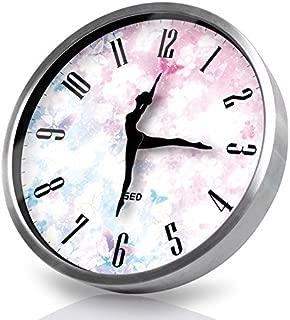Besplore Dance Quartz Wall Clock,Silent Non-Ticking,12 Inch,Silver Frame