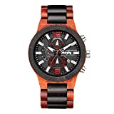 Wooden Watch Chronograph Watches Stylish Wood and Stainless Steel Combined Quartz Casual Wristwatches Red Ebony Black