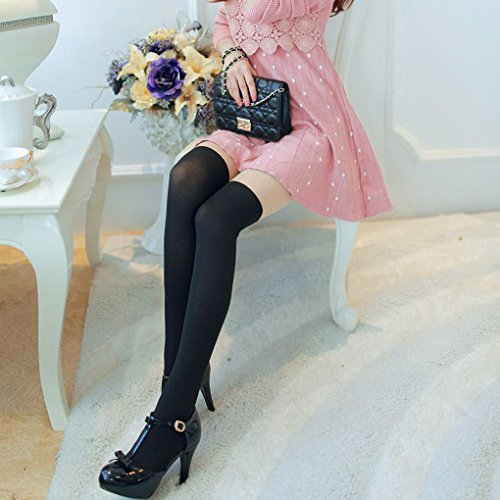 QHGstore Ginocchia donne Girl Autumn velluto sottile su lunghe Calze Collant Calze uncinetto superiore e piatta