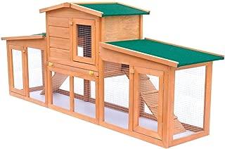 Rabbit Hutch Cage Pet Guinea Pig Chicken Coop Ferret Hen Run House Wooden 190cm