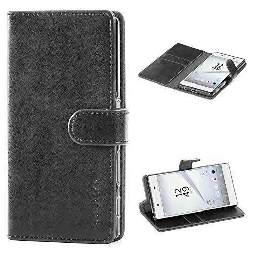 Mulbess Cover per Sony Xperia Z5, Custodia Pelle con Magnetica per Sony Xperia Z5 Case, Nero