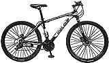 BBZZ Mountainbike für Männer Land Rover 26 Zoll mit 24-Gang-Fahrrad Full Suspension MTB 100cm * 85cm * 35cm,Schwarz