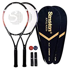 ★ TENNIS RACKET ★ Length: 27 inches(68.5-69cm)/Head size: mid+ (96-100 inch2) / Grip size: Size 2 (4-1/4 inch)/ Balance: 315mm ★ LIGHTWEIGHT ★ Unstrung Weight : 260-280g, which is lightweight and easy to hold and swing, bring you a convenient sports ...