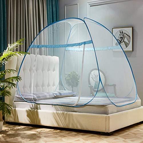 JHLA Mosquiteras Plegables Mosquitera Pop Up Tent para Cama Instalación Gratuita Malla De Red Fina Protección De Red para Insectos con Dosel para El Hogar Y Los Viajes,Blue-1.5x2.0x1.45m