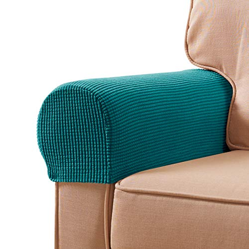 subrtex Stretch Armrest Covers Spandex Anti-Slip Arm Covers for Chairs Sofa Armchair Slipcovers for Recliner Sofa with Twist Pins 2pcs (Turquoise)