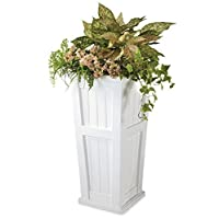 Plow & Hearth 52234-WH Tall Planter, 15.5