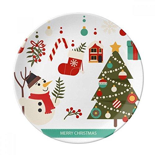 DIYthinker Modello Allegro Pupazzo di Neve Regalo di Natale della Porcellana Decorativo Piatto di Dessert da 8 Pollici Cena Regalo a casa Diametro di 21 cm