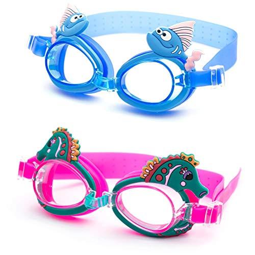 VIVILIAN 2 gafas de natación para niños, impermeables, protección contra rayos UV, con visión clara, gafas de piscina para niñas y niños