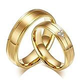 Beglie 6MM 2 Stück Edelstahl Eheringe Silber mit Gravur Paarringe Zirkonia Gold Edelstahl Partnerringe für Frauen Männer Frau:49 (15.6) & Mann:65 (20.7)