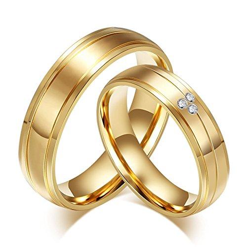 Blisfille 2 Piezas Anillo Mujer Diamantes Acero Inoxidable de Cúbicos Zirconia para Compromiso O Boda Forma Redonda Oro
