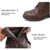 STQ Boots for Women Ladies Combat Ankle Boots, Choice for Walking and Casual Brown 7