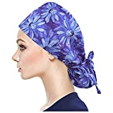 Working Cap with Button Long Hair, Adjustable Working Hat Ponytail Holder, Tie Back Hats for Women & Men, One Size (Purple)