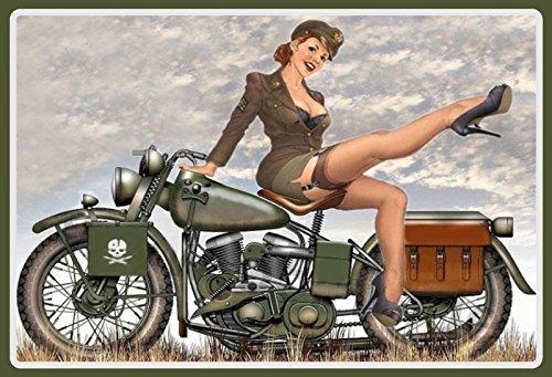 Schatzmix Pinup/pin up sexy Frau erotik militär uniform Motorrad Motorcycle Motorbike Metal Sign deko Sign Garten Blech