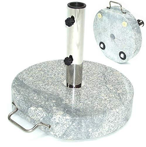 D&L Granit Sonnenschirmständer Schirmständer Schirm Ständer Granitständer m. Rollen[55885 Granit Sonnenschirmständer 30Kg 45x7 Rollen] AWZ