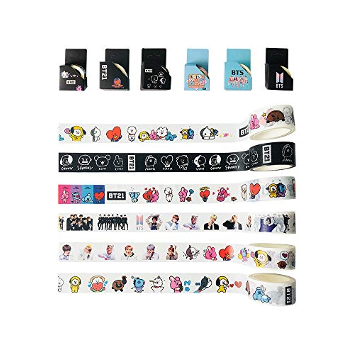 BTS Paper Tape BANTAN Boys Merchandise of Tearable Masking Tape, Gifts for Army Daughter (Cartoon+BTS, 6pcs)