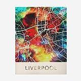 Rompecabezas De Madera 1000 Piezas - Liverpool Inglaterra Mapa Colorido Patrón Puzzle, para Adultos Y Niños, Adolescentes Adultos Cerebro Prueba Alivio Desafío Juguetes Difíciles,1000Pcs
