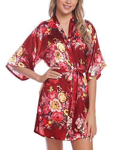 Hawiton Kimono Mujer Bata Saten,Sexy Flores Camisón de Manga Corta de Seda,Bata de Novia Albornoces, japones Vestido Novia Bolsillos Pijamas Verano