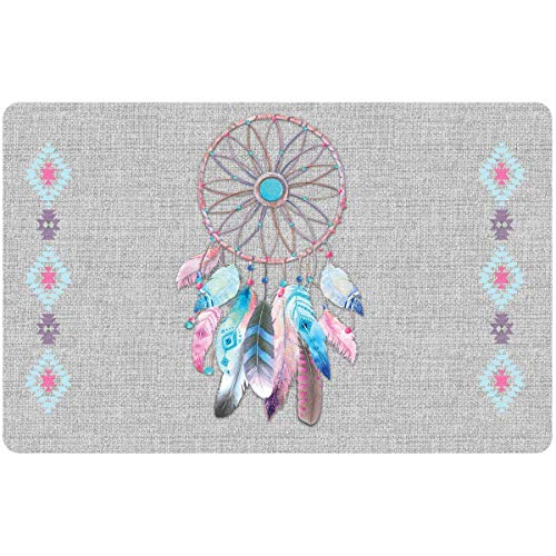 Promobo - Set De Table Design Attrape Songes Gris Plumes Rose Et Bleu