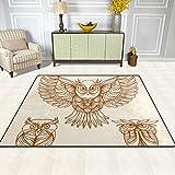 FAJRO Handgezeichnete Eulen-Teppiche für Eingangsbereich, Fußmatte, Teppich, Mehrmuster-Fußmatte, Schuhe, Schaber, Home Dec, rutschfest, für drinnen und draußen, Polyester, 1, 63 x 48 inch