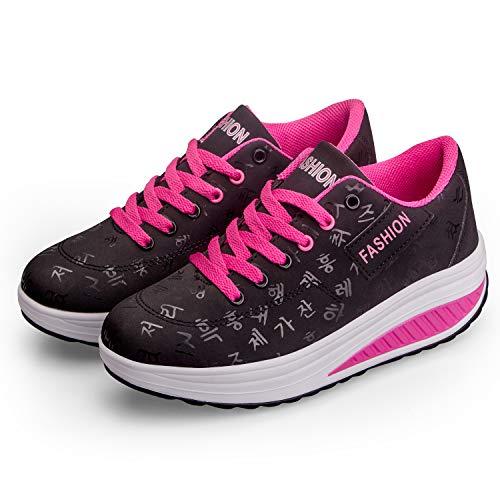 Baskets Mode Femme Chaussures de Multisports Outdoor Femme Chaussures de Running sur Route Hiver Chaussures de Sports Compensées Noir rouge37