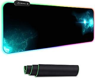 REAWUL RGB Gaming Mauspad Groß - 7 LED Farben 14 Beleuchtungs-Modi Gaming Mouse Mat, Rutschfester Gummibasis und Wasserdic...