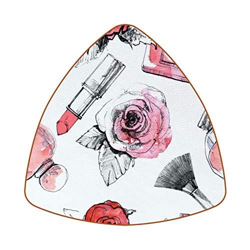 Posavasos triangulares para bebidas, pintalabios, perfume y pincel, taza de cuero, para proteger muebles, resistente al calor, decoración de bar de cocina, juego de 6
