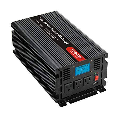 Inversor de corriente de 2000W DC 12 / 24V a AC / 110V / 220V (± 5%) Inversor de onda sinusoidal pura con pantalla LCD, 3 tomas de corriente alterna, 1 puerto USB Inversor , CA se puede utilizar par