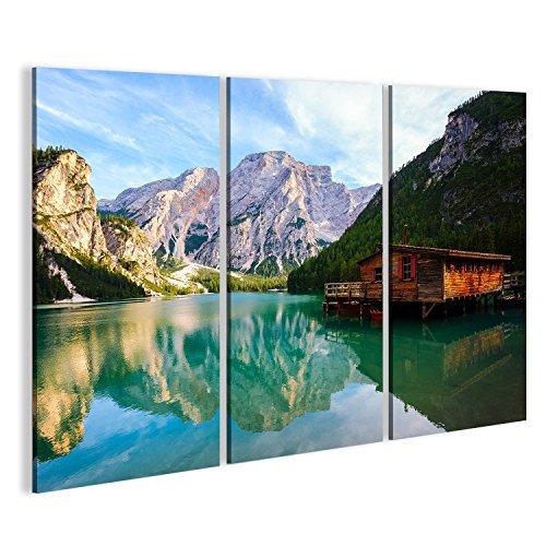 islandburner, Quadro moderno Lago Braies (Pragser Wildsee) in montagne delle Dolomiti, Sudtirol, Italia Stampa su tela - Stampa su tela - Quadri moderni LAD-3P-IT4
