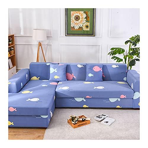 ANAZOZ Funda para Sofa 1 Plaza,Funda de Sofa Protectora Azul Funda Poliester Sofa Exterior Patrón de Peces Fundas de Sofa 1 Plaza(90-140CM)