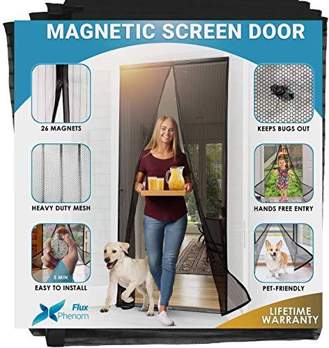 Cheelom Puerta de pantalla magnética Malla para puerta, (2021 Nuevo modelo)Film para puerta, con sello magnético de cierre automático súper hermético y malla de poliéster duradera, cinta de montaje del marco completo para puertas cortina con imán negro y cortina para mosquitos (90cmX210cm)