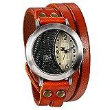 JewelryWe Herren Damen Armbanduhr, Orange Leder Armband Wickelarmband, Retro Eiffelturm Design mit...